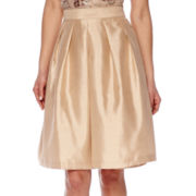 Be by CHETTA B High-Rise Silk Flare Skirt