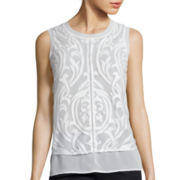 Worthington® Seam-Detail Chiffon Tank Top - Tall