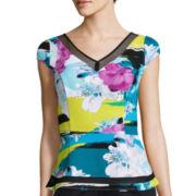 Worthington® Short-Sleeve Mesh Peplum Top- Tall