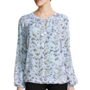 Liz Claiborne® Long-Sleeve Floral Peasant Blouse - Tall