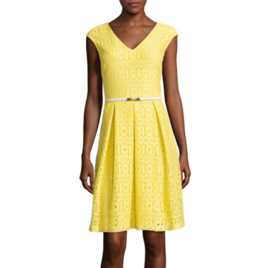 jcpenney.com | Liz Claiborne® Sleeveless Lace Belted Fit-and-Flare Dress