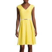 Liz Claiborne® Sleeveless Lace Belted Fit-and-Flare Dress