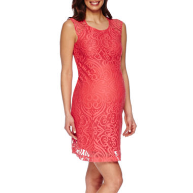 jcpenney.com | Maternity Cap-Sleeve Allover Medallion Lace Dress
