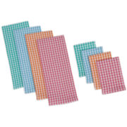 Design Imports Summer Checks Heavyweight Set of 4 Kitchen Towels and Dishcloths