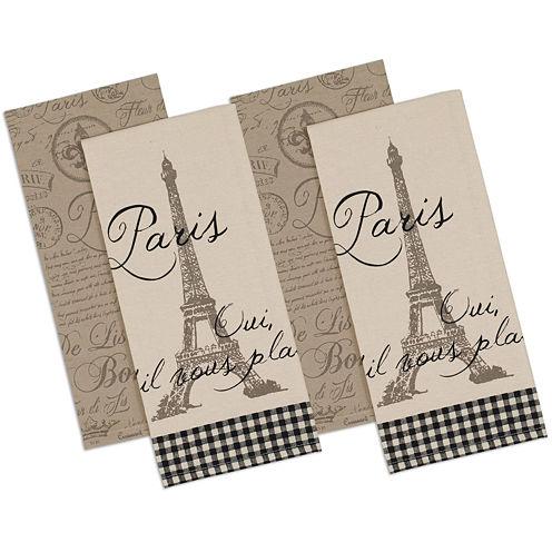 Design Imports Paris Set of 4 Kitchen Towels