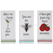 Design Imports Love you Set of 3 Kitchen Towels