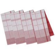 Design Imports Radish Plaid Set of 4 Kitchen Towels