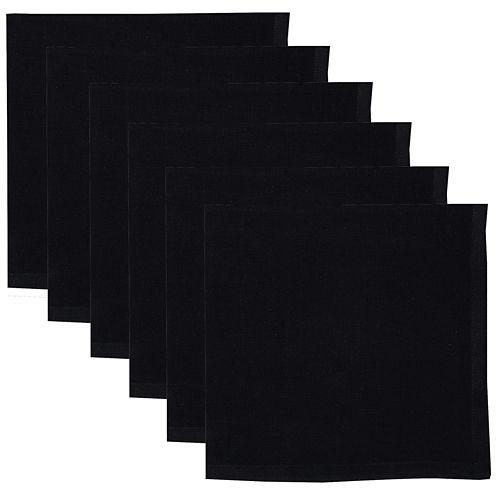 Design Imports Set of 6 Black Napkins