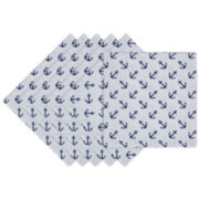 Design Imports Anchors Away Set of 6 Napkins