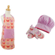 Design Imports Butterfly Princess Kids Apron and Chef Gift Set