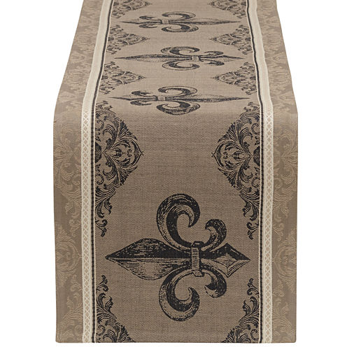Design Imports Fleur De Lis Stripe Jacquard Table Runner