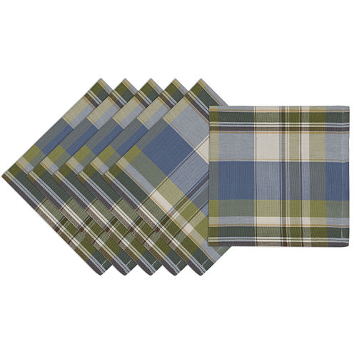 Design Imports Lake House Plaid Set of 6 Cotton Napkins