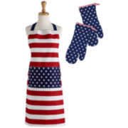 Design Imports Stars & Stripes Printed Cotton Apron & Oven Mitt Set