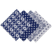 Design Imports Set of 4 Indigo Prints Napkins