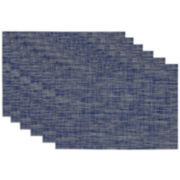 Design Imports Nautical Blue Tonal Set of 6 Tweed Placemats