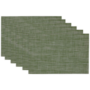 jcpenney.com | Design Imports Fig Green Tonal Tweed Set of 6 Placemats