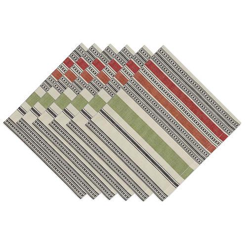 Design Imports Mediterranean Stripe Set of 6 Napkins