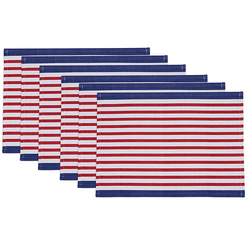 Design Imports Nautical Stripe Set of 6 Placemats