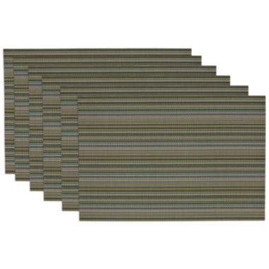 jcpenney.com | Design Imports Vineyard Green Micro Stripe Set of 6 Placemats