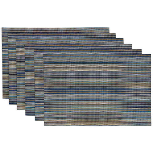 Design Imports Ocean Blue Micro Stripe Set of 6 Placemats
