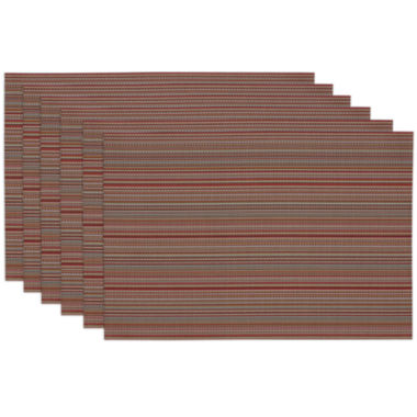 jcpenney.com | Design Imports Tango Red Micro Stripe Set of 6 Placemats