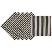 Design Imports Black Petite Stripe Set of 6 Napkins