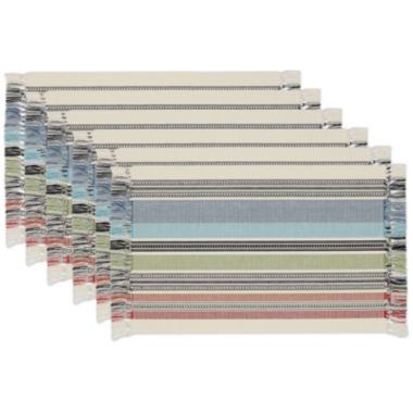 jcpenney.com | Design Imports Mediterranean Stripe Fringed Set of 6 Placemats