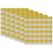 Design Imports Yellow and White Checkers Set of 6 Placemats