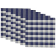Design Imports Blue and White Checkers Set of 6 Placemats