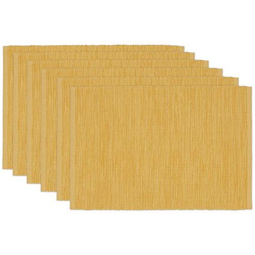 Design Imports Honey Mustard Yellow Set of 6 Cotton Placemats