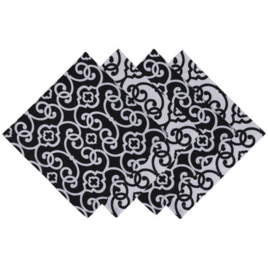 jcpenney.com | Design Imports Black & White Scroll Set of 4 Napkins