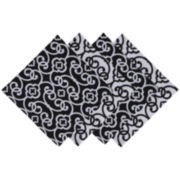 Design Imports Black & White Scroll Set of 4 Napkins