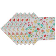 Design Imports April Flowers Set of 6 Napkins