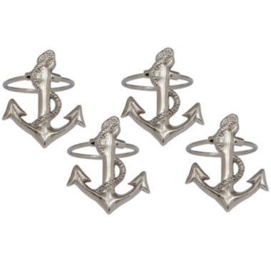 jcpenney.com | Design Imports Anchor Set of 4 Brass Napkin Rings