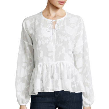 jcpenney.com | BELLE + SKY™ Long-Sleeve Floral Peasant Blouse