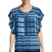 a.n.a® Tie-Up Flutter-Sleeve Peasant Top