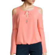 Bisou Bisou® Cold Shoulder Flutter Top