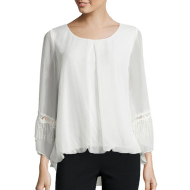 jcpenney.com | Alyx® Long-Sleeve Fringe Bubble Top