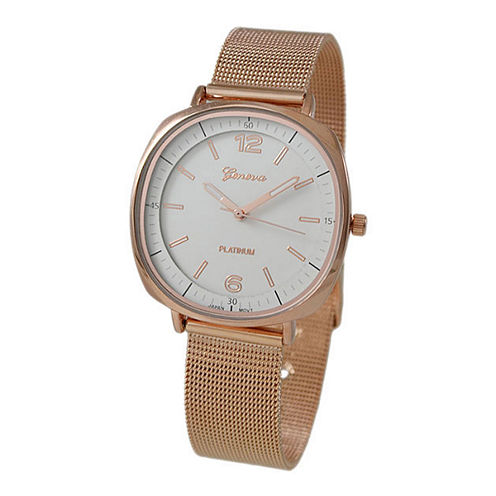 Geneva Platinum Womens Rose Goldtone Strap Watch-1528