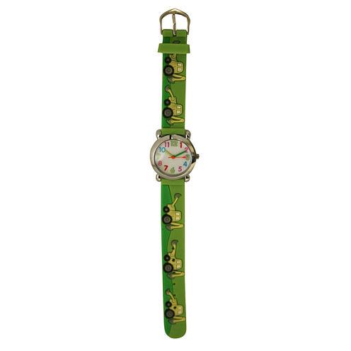 Olivia Pratt Tractor Unisex Green Strap Watch-17186