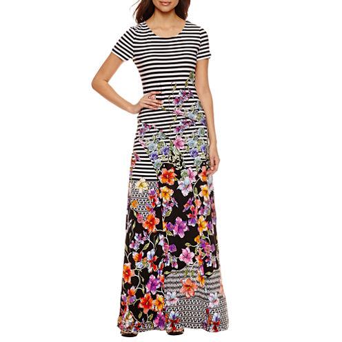 Trulli Short Sleeve Stripe Maxi Dress