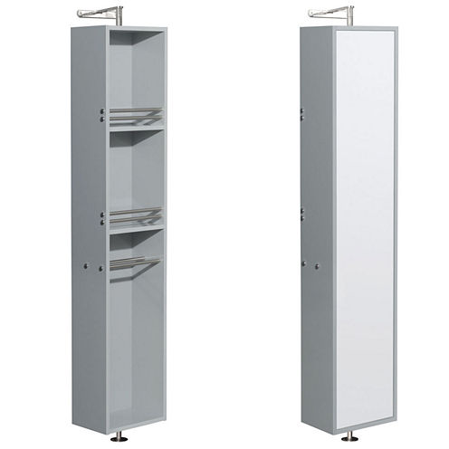 Wyndham Collection Amare Linen Tower & 360 DegreeRotating Floor Cabinet with Full-Length Mirror