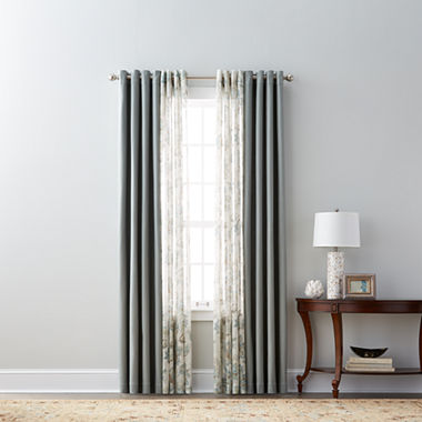 JCPenney Home Pembroke & Bismark Sheer Grommet-Top Curtain Panels ...