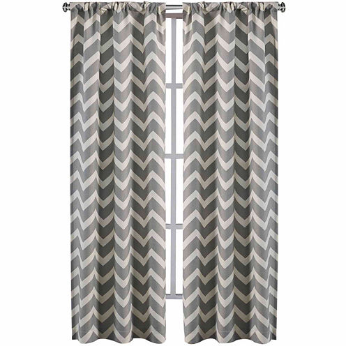 Rhett 2-Pack Chevron Rod-Pocket Curtain Panels