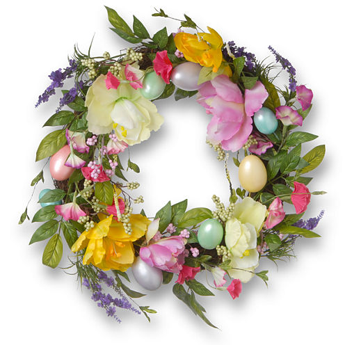 """20"""" Easter Eggs and Tulips Wreath"""""""