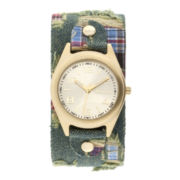 Decree® Womens Denim Patchwork Cuff Watch