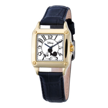 jcpenney.com | Disney Womens Mickey Mouse Black Leather Strap Watch