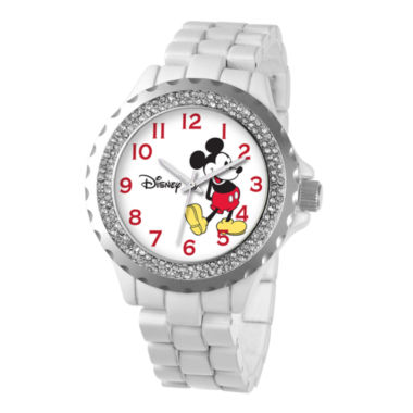 jcpenney.com | Disney Womens Mickey Mouse White Enamel Sparkle Watch