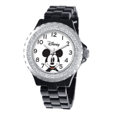 jcpenney.com | Disney Womens Mickey Mouse Black Enamel Sparkle Watch