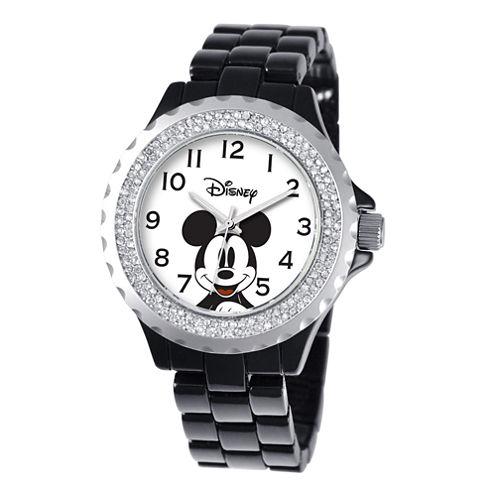Disney Womens Mickey Mouse Black Enamel Sparkle Watch